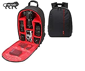 GOD BOY Waterproof DSLR Backpack Camera Bag, Lens Accessories Carry Case for Nikon, Canon, Olympus, Pentax & Others (Red)