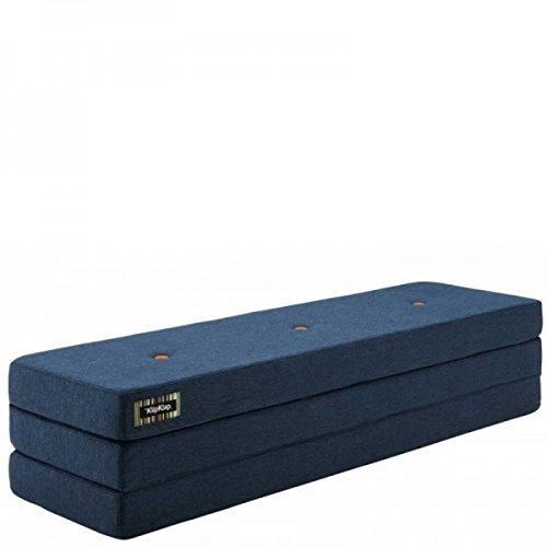 by KlipKlap 3 fold Multipurpose Furniture – Dark Grey with Orange Button, Normal length 180 cm