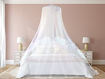 #1 The Best Mosquito Net By NATURO for Double Bed Canopy | Largest Screen Netting Curtains | Bonuses: 2 Insect Repellent Bracelets, A Full Hanging Kit, Carry Bag + E-book