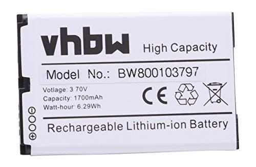 vhbw Li-Ion Akku 1700mAh (3.7V) für Handy Smartphone Telefon BlackBerry Bold 9000, 9030, 9220, 9630, 9700, 9780, Magnum, Onyx wie BAT-14392-001, M-S1. Blackberry Bold 9000 Smartphone