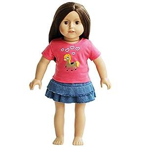 The New York Doll Collection Camiseta Cowgirl Pony y Falda Vaquera Ropa para muñecas de 45 cm (43227-4089)