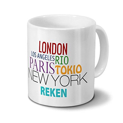 Städtetasse Reken - Design Famous Cities of the World - Stadt-Tasse, Kaffeebecher, City-Mug, Becher, Kaffeetasse - Farbe Weiß