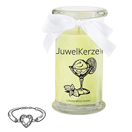 JuwelKerze Limone Minze Sorbet - Kerze im Glas mit Schmuck - Große grüne Duftkerze mit Überraschung als Geschenk für Sie (925 Sterling Silber Armband, Brenndauer: 90-120 Stunden)