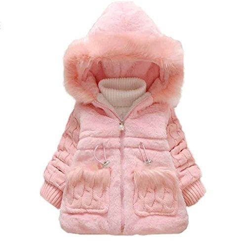 Bekleidung Longra Baby Mädchen Kinder Oberbekleidung Kleidung Winterjacke Mantel Schneeanzug warme Baby Kleidung (0-48 Monate) (80CM 9Monate, Pink)