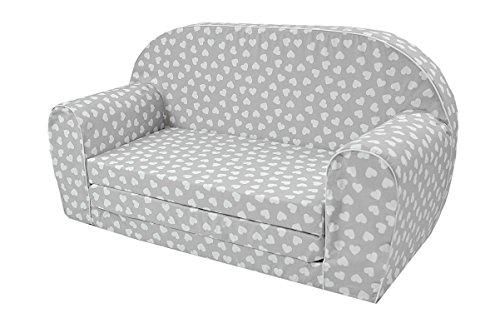 MoMika Kinderschlafsofa Kindersofa mit Bettfunktion Couch Kindermöbel Ausklapp Kindersessel, zum Schlafen und Spielen - 2 Sitzer (Hearts-F110) (Leseecke Für Kinder)