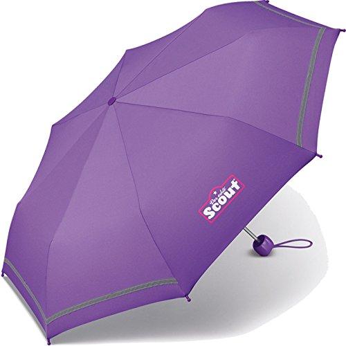 Scout Kinder Regenschirm Taschenschirm Schultaschenschirm mit Reflektorstreifen extra leicht (Lila) (Lila Schulranzen)