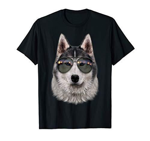 Sibirischer Husky, der Aviator Sonnenbrille Trägt - T-Shirt