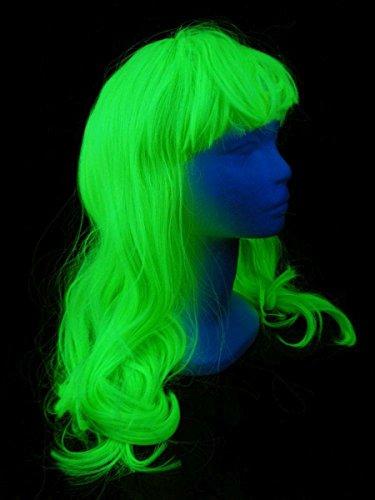 e Lang mit Locken Neon Grün ()