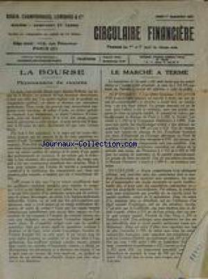 CIRCULAIRE FINANCIERE du 01/09/1927 - LA BOURSE - LE MARCHE A TERME.