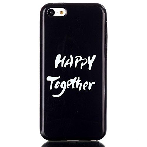 UltraSlim Case per iphone 5C, Solido Nero Custodia Lucida Per iphone 5C, Ukayfe Black Back Series Custodia Morbido TPU Gel Silicone Protettivo Skin Protettiva Shell Case Cover per iphone 5C Con Stilo  Happy Together