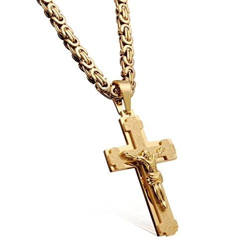 Masarwa Herrenkette mit Kreuzanhänger, 18Karat Gelbgold, 61cm, mit Samtbeutel