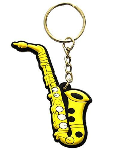 Schlüsselring mit kreativem Schlüsselanhänger in lebendigen Farben, Musikinstrument, Geschenk, Dekoration, Saxophone