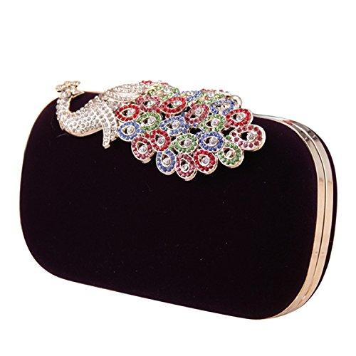 Elegante Peacock Strass Crystal Clutch Tasche samt Cocktail-Abend Handtasche schwarz Schwarz