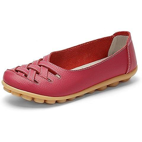 Auspicious beginning Nuove signore scavano fuori casualee pelle Mocassini Mocassino scarpe (Gomma Da Masticare Rosa Pelle)