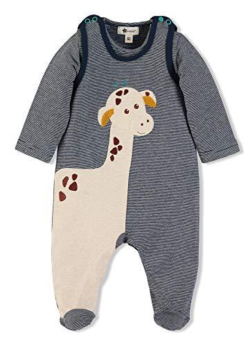 Sterntaler Strampler-Set Kuschelzoo, Niedliches Giraffe Greta-Motiv, Alter: 4-5 Monate, Größe: 62, Blau/Beige