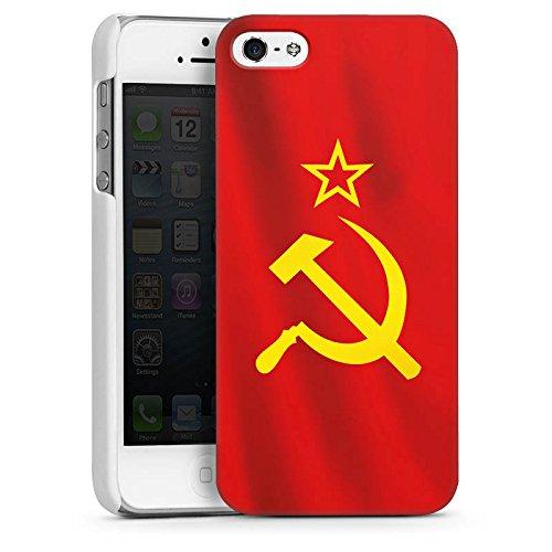 Apple iPhone 5s Housse étui coque protection URSS Drapeau Faucille et marteau CasDur blanc