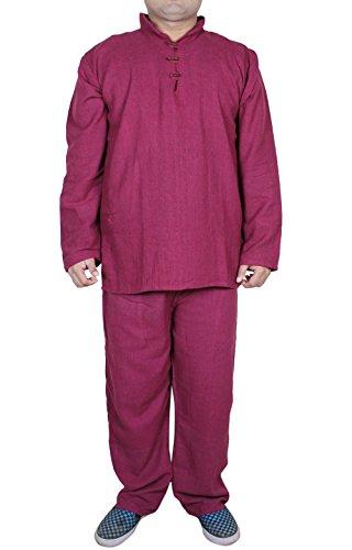 Mens-coton-pyjama-tiss-pantalon-chemise-de-nuit-dbardeur-rouge-fix-size-xl