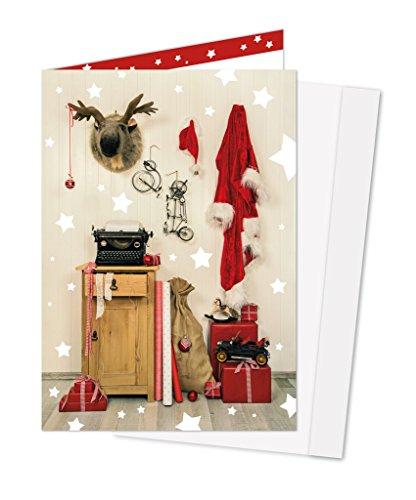 '10pezzi rosso nostalgische bianche biglietti di Natale