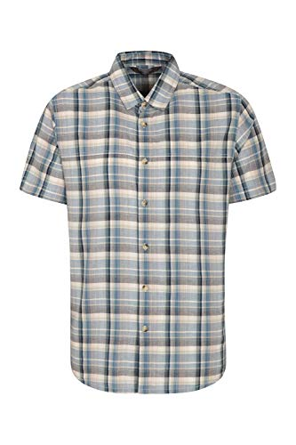 Mountain Warehouse Weekender Kurzarmhemd für Herren - Sommerhemd aus 100% Baumwolle, Freizeithemd, atmungsaktiv Kariertes Hemd, bequemes Oberteil Kurzarm-Shirt Indigo XXX-Large