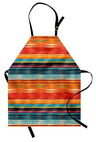 Mexikanische Schürze, abstrakte lebendige Vintage Aztec Motiv Farbverlauf verschwommene Linien Ecuador Handwerk Bild, Unisex-Küche Latzschürze mit verstellbarem Hals zum Kochen Backen Gartenarbeit, Mu