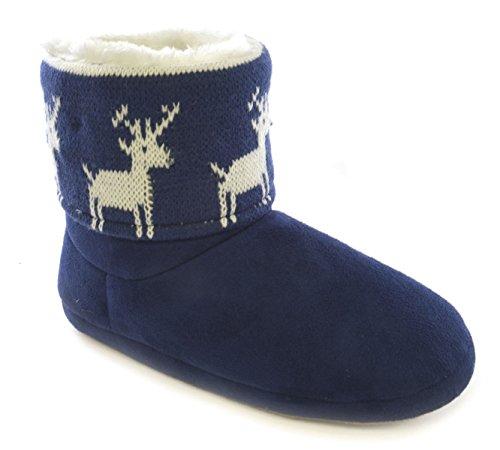 Slumberzzz Hausschuhe für Damen, mit LED-Blinklicht Bootie-Hausschuhe Blue Reindeer