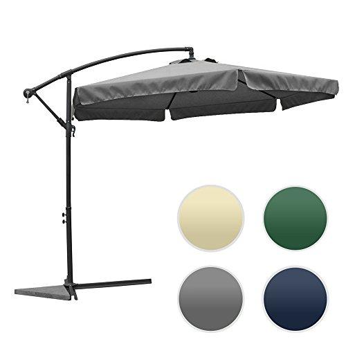 groß metall Sonnenschirm mit Kurbel ca. Ø 3m (300cm) - XXL! UV SCHUTZ! FARBE WÄHLBAR / rund Ampelschrim (Grau), Sonnenschutz und Wasserdicht Gartenschirm Kurbelschirm für Balkon, Camping, Tarasse