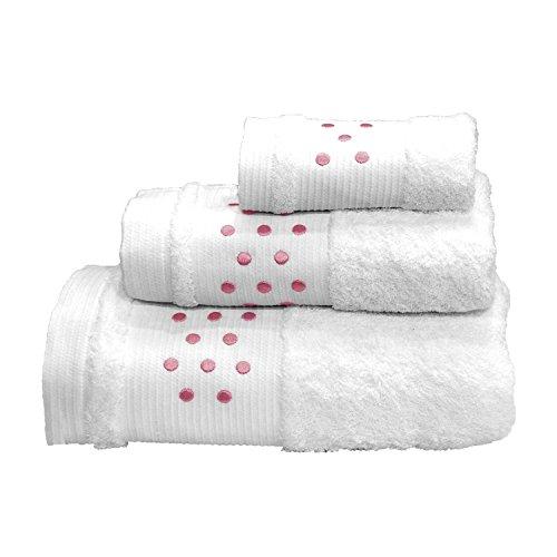 Lunares Toallas De Baño De 4piezas–Juego de 2hojas de baño + 2toallas de mano–blanco w/color rosa