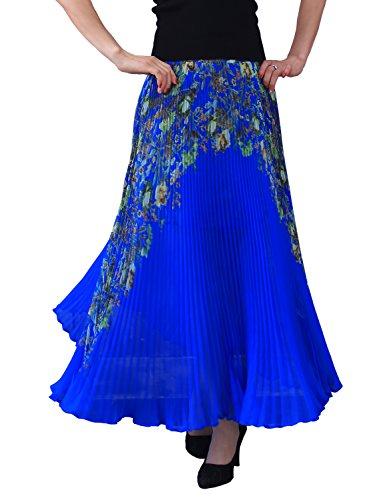 Relaxfeel Taille Haute Froncée de La Femme Formelle Longue Maxi Jupe Plissée impression verte Bleu