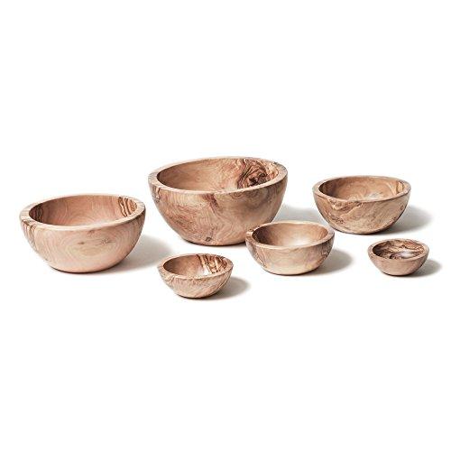 Bérard 89670, Set de 6 coupelles en bois d'olivier et fait-main, idéal salades et apéritifs- 6-16 cm