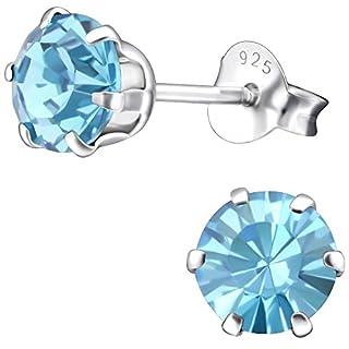 EYS JEWELRY Damen Ohrstecker rund 925 Sterling Silber Swarovski Elements 6 mm aquamarin-blau Ohrringe im Geschenk-Etui Glitzer Kristalle