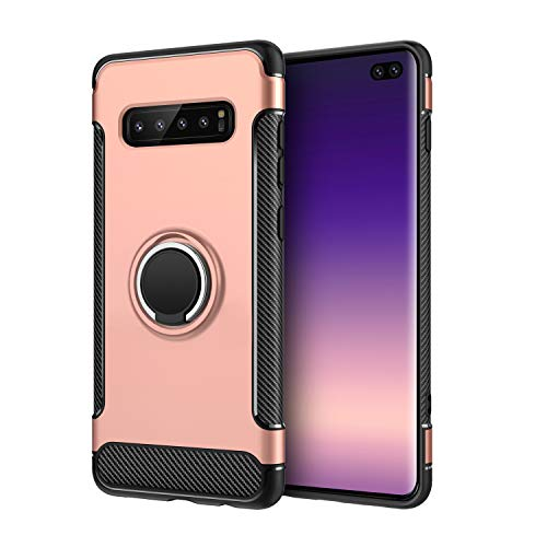 Wubaouk Samsung Galaxy S10 Plus Case, Luxury Ultra Slim Carbon Fiber with 360 Degree Rotating Finger Ring Grip Holder Stand [Magnetic Car Mount Feature] for Samsung Galaxy S10 Plus Luxury Wallet Case