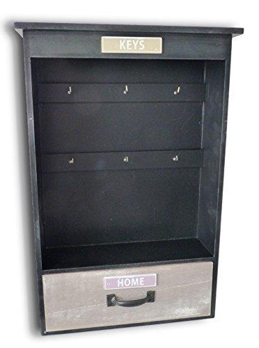 Bois Porte-clés Clé armoire Boîte à clés bord Plaque à clés Shabby Chic avec 6crochets et tiroir
