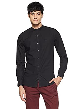 Allen Solly Men's Solid Slim Fit Casual Shirt (ASSFWMOFA24870_Black_44)