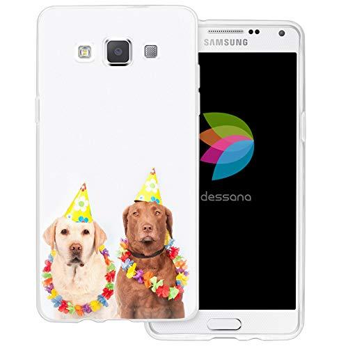 dessana Fasching Party transparente Schutzhülle Handy Case Cover Tasche für Samsung Galaxy A5 (2014-2015) Kostüm Hunde