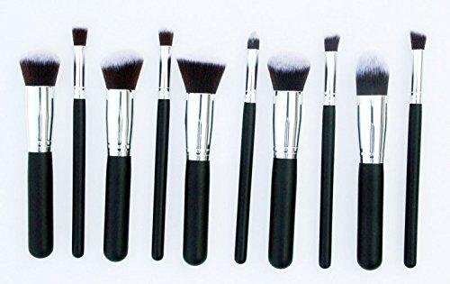 Contever® Mesdames Noir Poignée - 10Pcs Brosse de Maquillage Kabuki Set Cosmétique Fondation Blending Blush Eyeliner Poudre pour le Visage Kit - Tube Couleur Argent