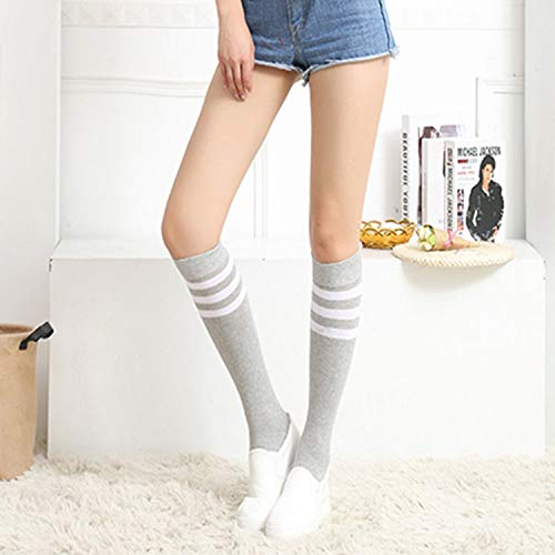 XIAOL Home Frühling und Sommer Rohr Socken weibliche gekämmte Baumwolle gestreiften Bar Sportsocken Studenten Basis Fußball Deo Feuchtigkeitstransport (Color : Grey) (Socken Gestreiften Rohr)