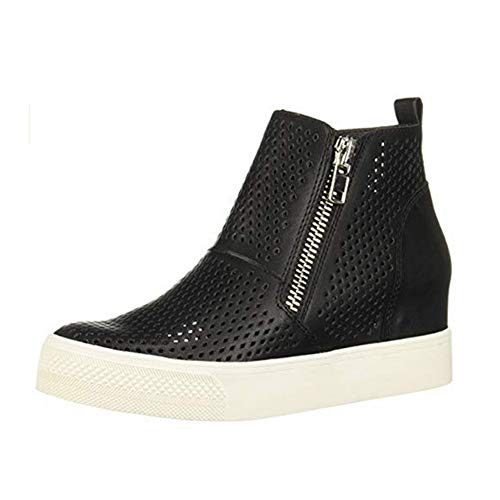 Sneakers Donna Zeppa Platform Stivaletti con Tacco Alte 5Cm Pelle Mocassini Eleganti Scarpe da Ginnastica Estive Comode Nero Beige Grigio 34-43 BKPU36