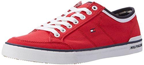 Tommy Hilfiger Herren CORE Corporate Textile Sneaker Low-Top, Rot (Tango Red 611), 41 EU (Herren Fashion Schuhe Rot)