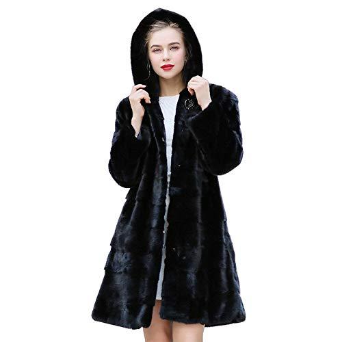 YRFDM Warmer Mantelm,90cm Länge Echte Mäntel Jacke mit Kapuze Winter Echte Frauen Oberbekleidung Mäntel Plus Size 4XL 4
