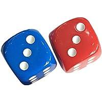 TOYMATOY 2Pcs Dados de plástico 6 lado coloreados dados de 16 mm para KTV Party Bar Gaming (azul y rojo)