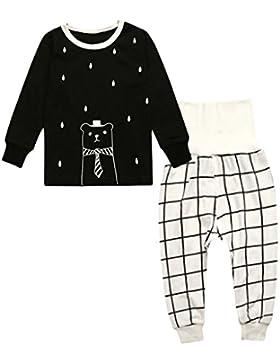 Sharplace Set di 2pz Bambini Manica Lunga Vestiti Tshirt Magliette Pantaloni Pigiama Da Notte