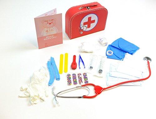 Doktor Koffer / stabiler Pappkoffer mit Metallgriff / mit medizinischen Instrumenten und Zubehör / Material: Pappe, Metall + Kunststoff / Maße: 25 x 18 x 8 cm / für Kinder ab 3 Jahren