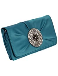 04e30c72f04d6 Teal green satin large clutch handbag with oversized twist lock feature by Olga  Berg
