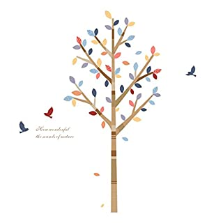 AWAKINK Colorful Tree Branches Birds Flying Wall Stickers Wall Decal Vinyl Removable Art Wall Decals for Girls and Boys Nursery Room Children's Bedroom