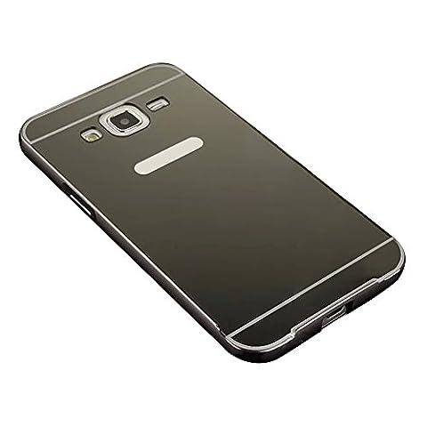 Skitic Mirror Effect Hülle für Samsung Galaxy J5 (2015), Luxus 2 in 1 Design Spiegel Aluminium Metall Frame Electroplating Bumper PC Rückseite Schutzhülle Rahmenschutz Case Cover Ultra Slim Handy Tasche Harte Schale - (Stern Klar Deckel)