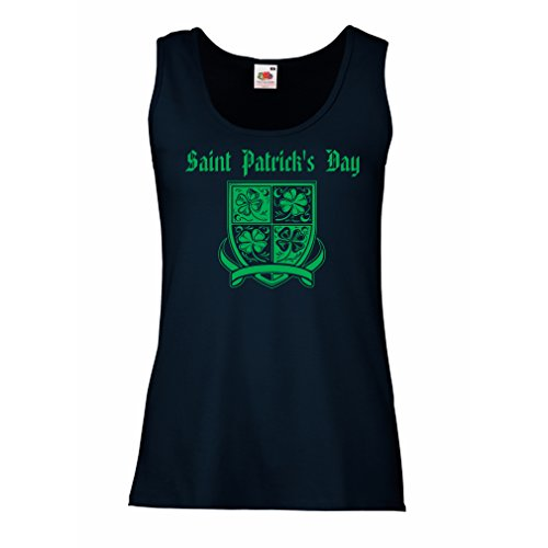 Halloween Kostüme Girl Boxing (Damen Tank-Top Saint Patrick's day Shamrock symbol - Irish party time (Large Blau)