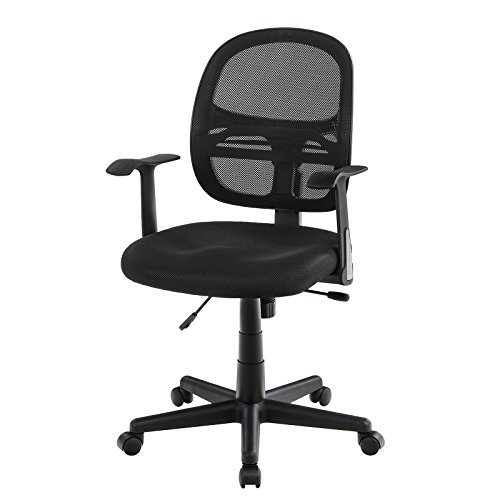 SONGMICS Bürostuhl, Drehbar, ergonomischer Netzstuhl, Atmungsaktiv, mit Armlehnen aus PP und...