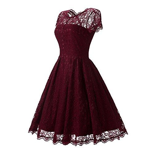 YaoDgFa Damen Kleider Spitze Abendkleid Festlich Kurzarm Knielang Cocktailkleid Partykleid Rockabilly Retro 1950er Sommer Rot