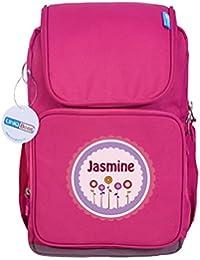 UniQBees Personalised School Bag With Name (Smart Kids Large School Backpack-Pink-Pink Flowers)