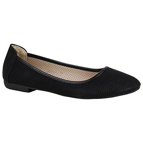 Stiefelparadies Klassische Damen Ballerinas Slippers Flats Übergrößen Flache Schuhe Metallic Spitze Glitzer Abendschuhe Flandell Schwarz Lochungen